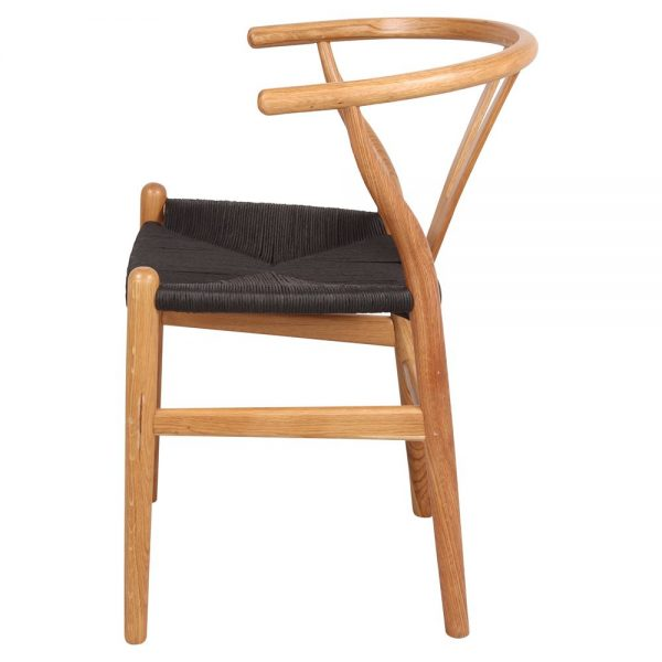 silla wishbone roble natural asiento negro