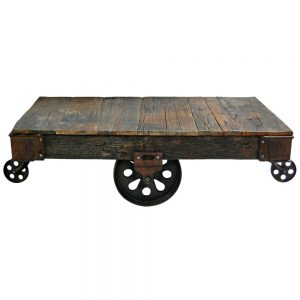 mesa centro rustica con ruedas carro