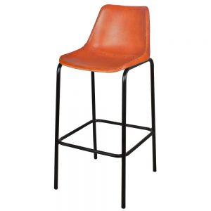 taburete alto asiento cuero marron