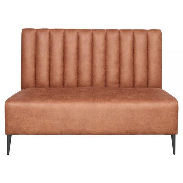 sofa tapizado marron con patas negras