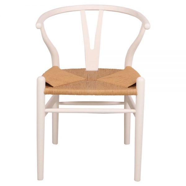 silla wishbone blanca para restaurante