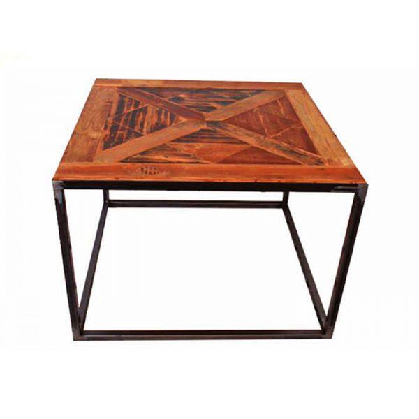 mesa de centro con tapa de madera