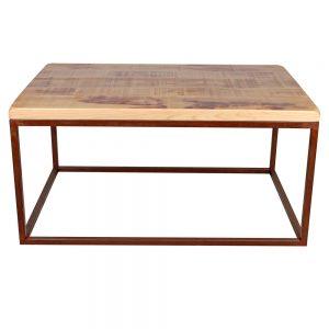 mesa de centro con tapa de madera y hierro