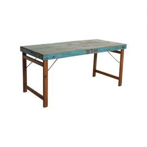 mesa rustica madera azul vintage