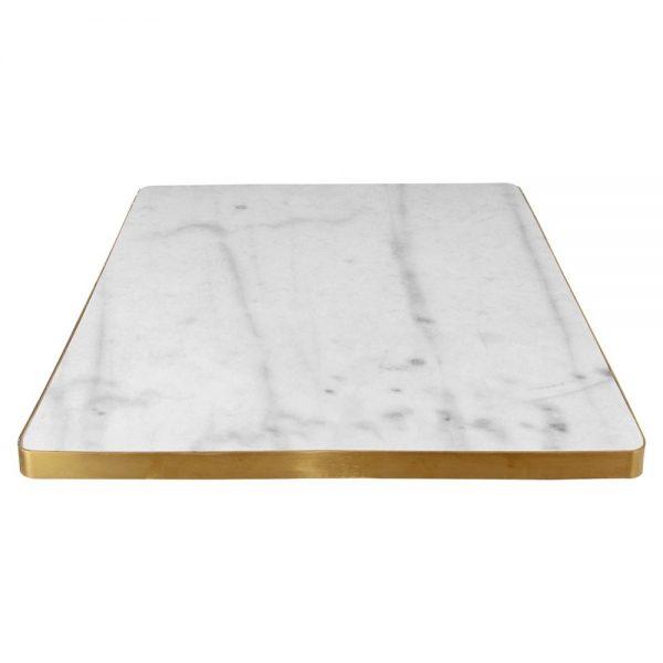 tapa cuadrada de mármol con marco dorado
