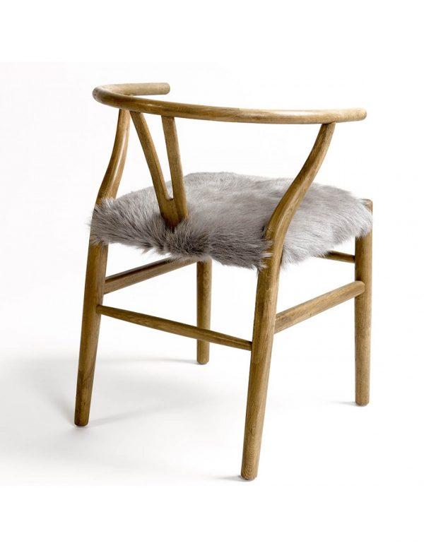 silla wishbone con asiento piel