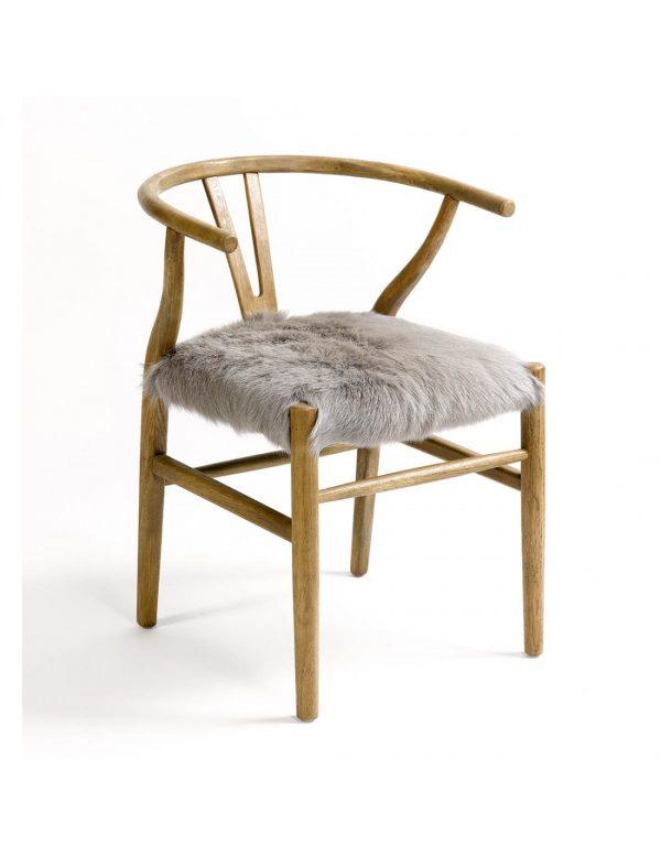 silla wishbone con asiento tapizado