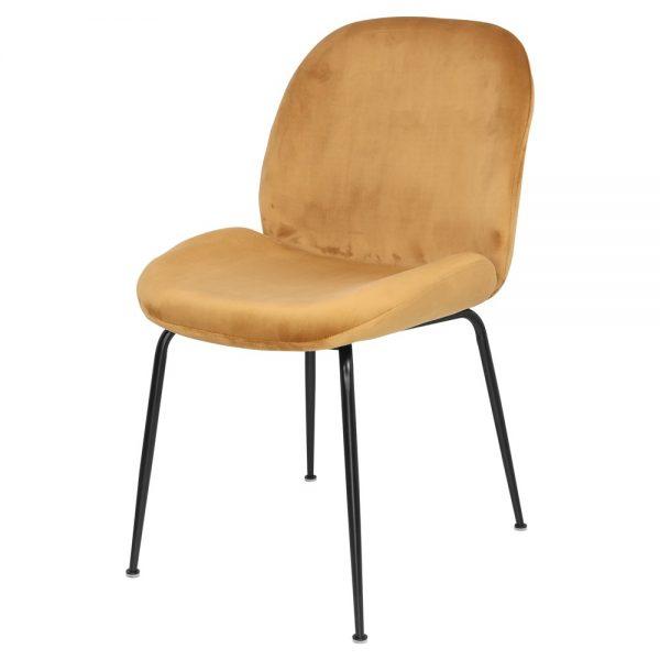 sillas tapizadas terciopelo mostaza