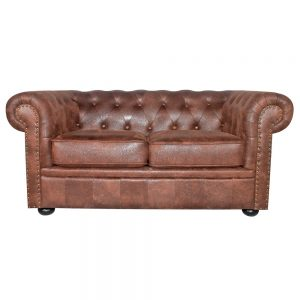 sofa chester 2 plazas marron