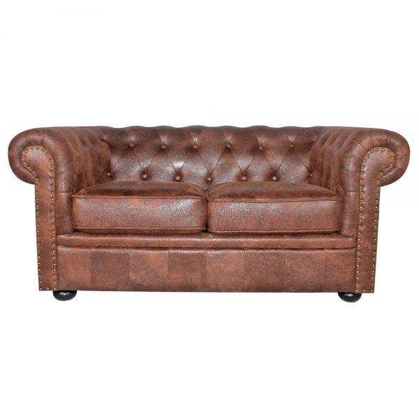 sofa chester 2 plazas marron