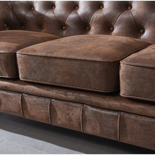 sofa chester 3 plazas marron