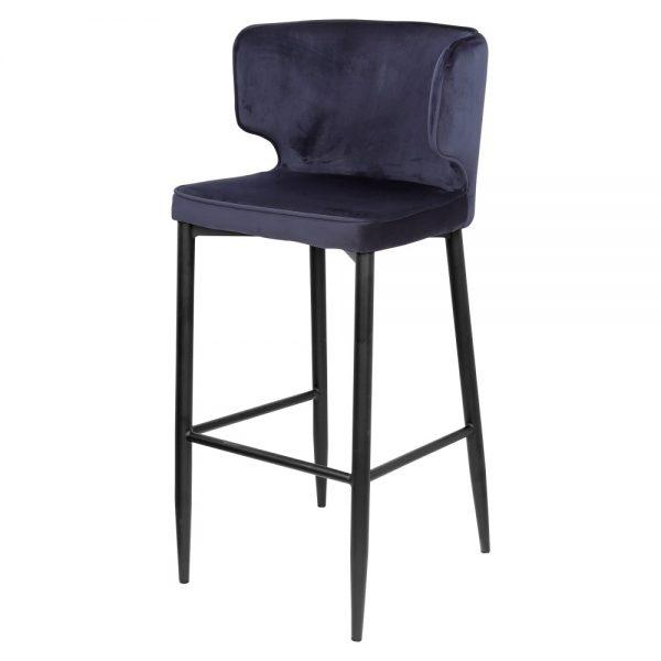 taburete tapizado terciopelo azul patas negras
