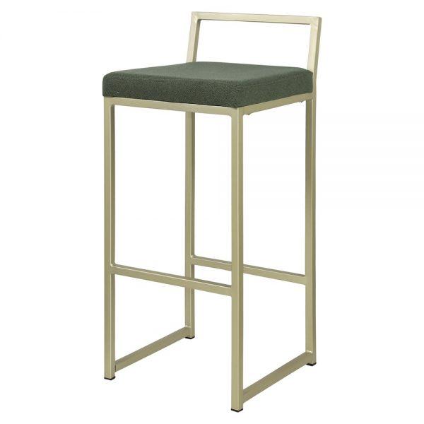 taburete alto metalico asiento tapizado color verde