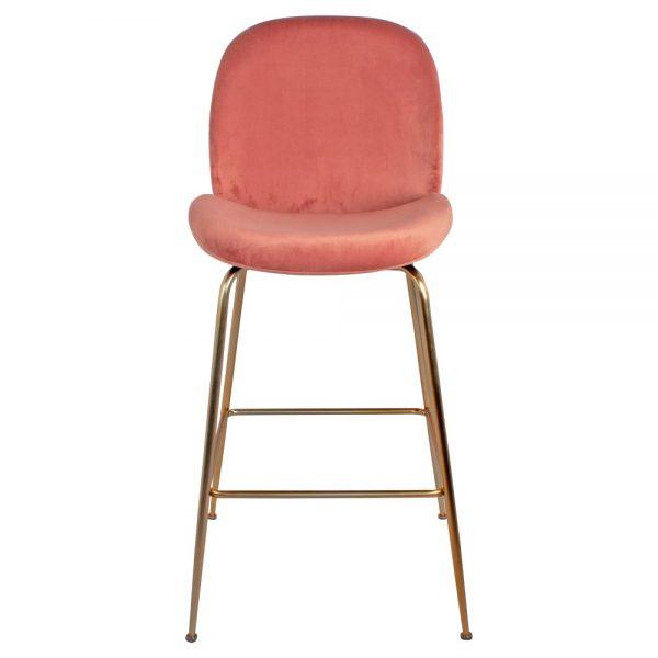 taburete terciopelo rosa patas doradas