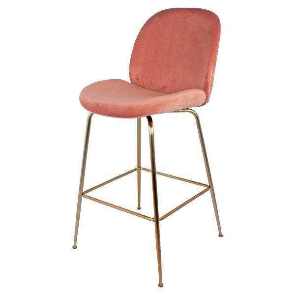 taburete alto terciopelo rosa patas doradas