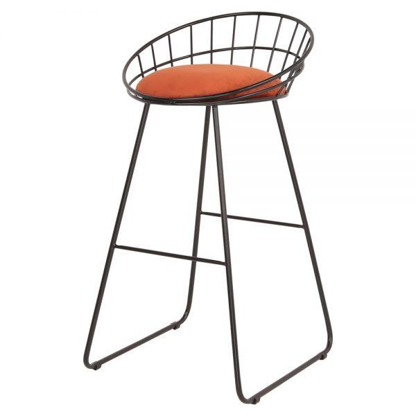 taburete alto metalico varilla tapizado asiento color terracota