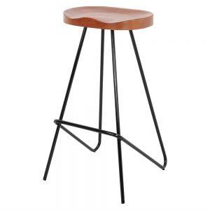 taburetes industrial para barra de bar asiento de madera