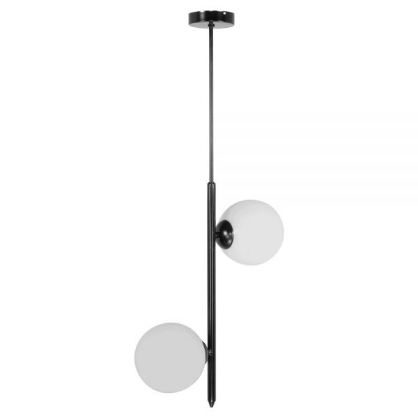 lámpara colgante de color negro con dos bolas de cristal