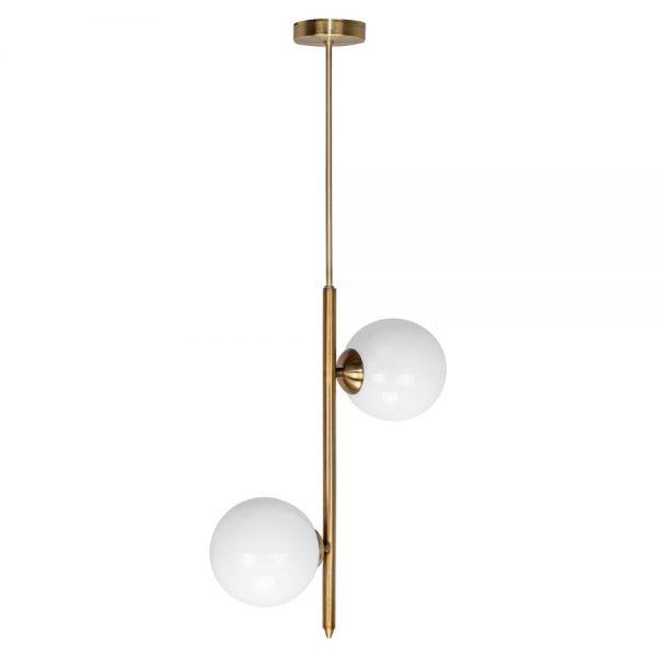 lampara de techo con dos bolas blancas