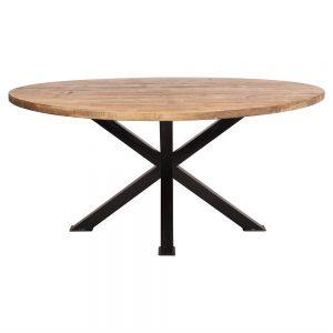 mesa comedor redonda de madera con patas negras