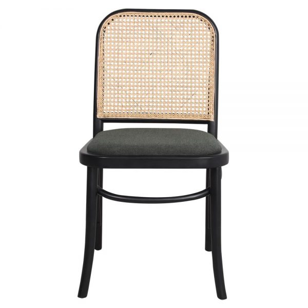 silla madera negra tapizado verde