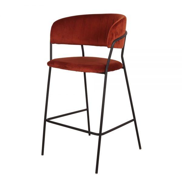 taburete alto con respaldo terciopelo rojo