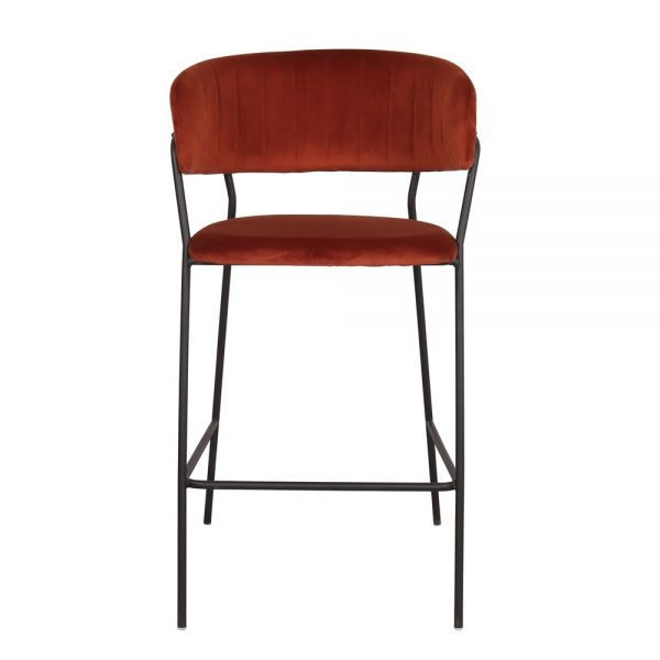 taburete alto de bar tapizado terciopelo rojo
