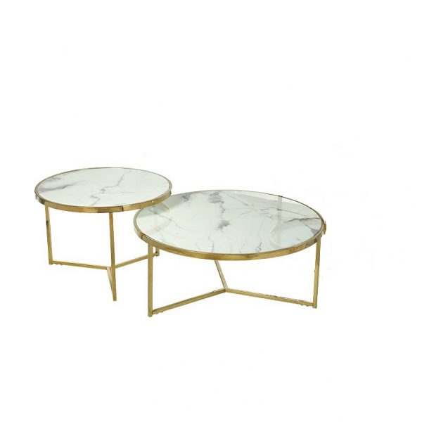 juego dos mesas nido redondas mármol blanco