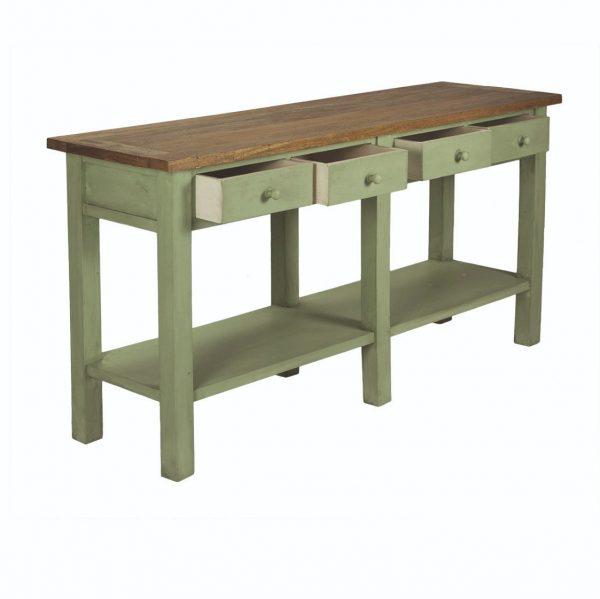 consola de madera verde con cajones