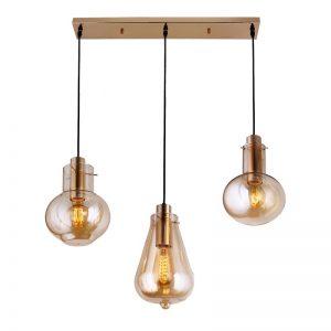 lámpara dorada con tres bombillas
