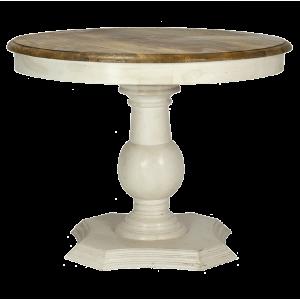 mesa redonda blanca con tapa madera