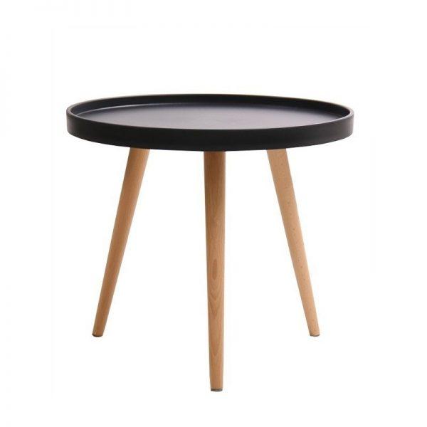 mesa baja tapa negra y patas madera clara