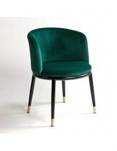 silla tapizada terciopelo verde