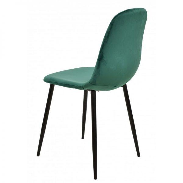 silla tapizada terciopelo verde patas negras