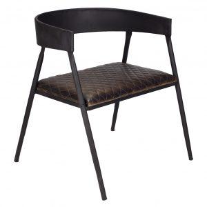 silla tapizada cuero con estructura metálica