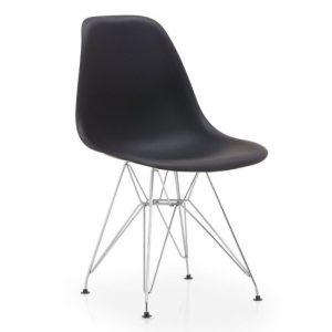 silla negra con patas cromadas