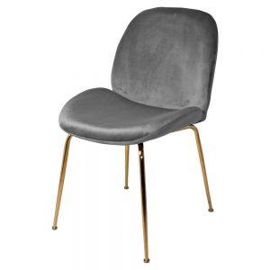 silla terciopelo gris con patas doradas