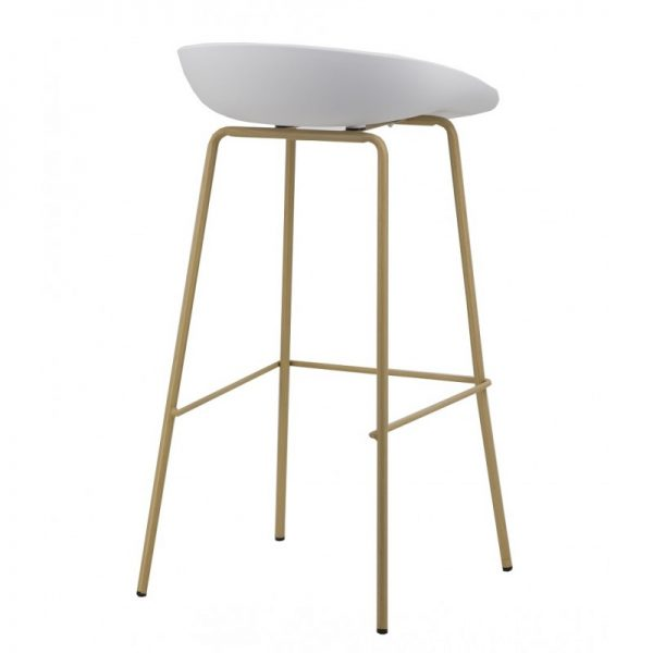 taburete asiento blanco patas madera