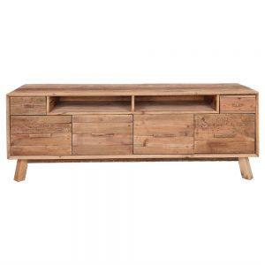 mueble tv rustico con cajones de madera