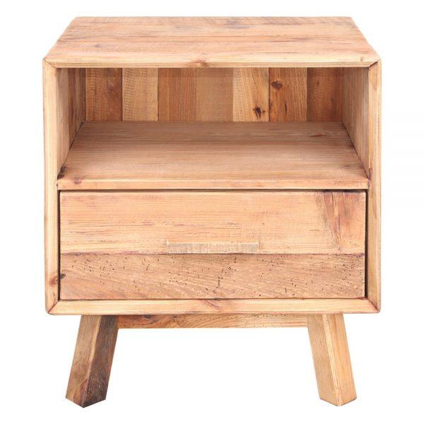 mesita de noche rustica en madera