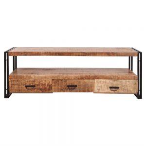 mueble tv estilo industrial de madera y metal