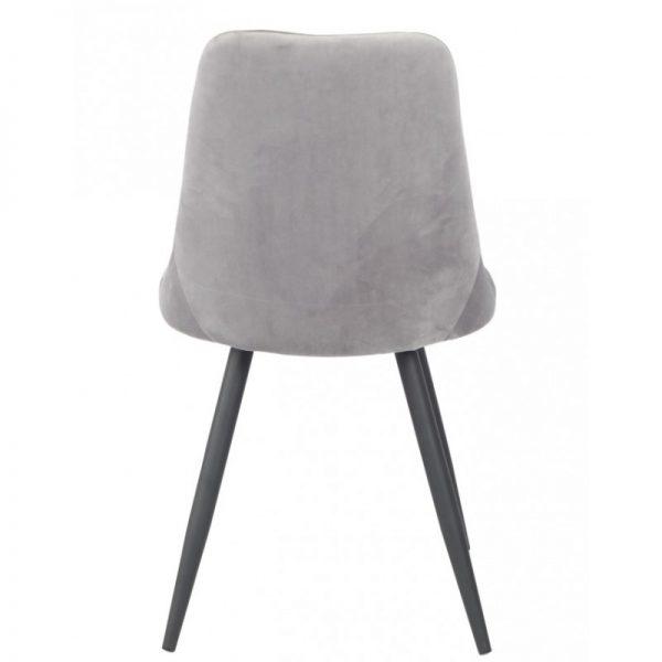 silla salon tapizada gris patas negras