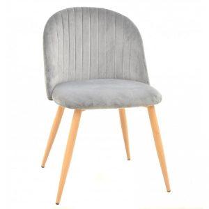 silla tapizada gris patas madera