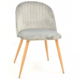 silla terciopelo color gris claro patas de madera madera