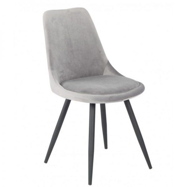silla tapizada gris con patas negras