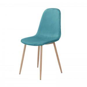 silla tapizada terciopelo turquesa patas metal