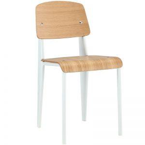 silla estilo nórdico madera y metal blanco