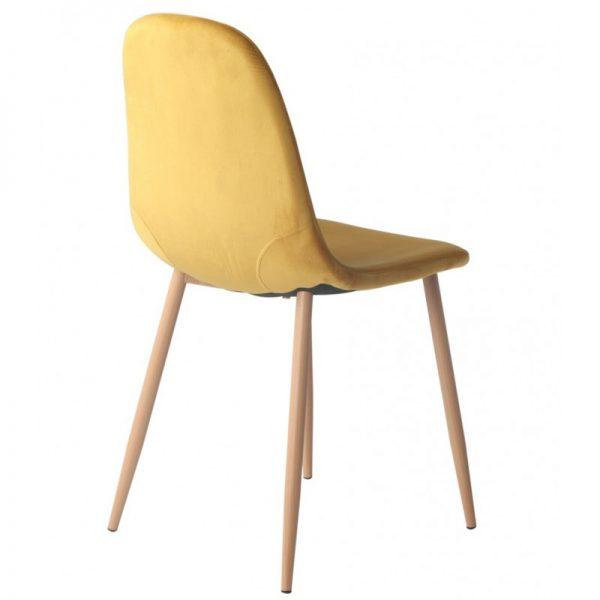 silla comedor tapizada ocre patas metal
