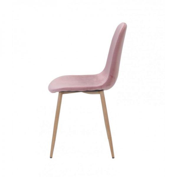 silla tapizada terciopelo rosa patas metalicas