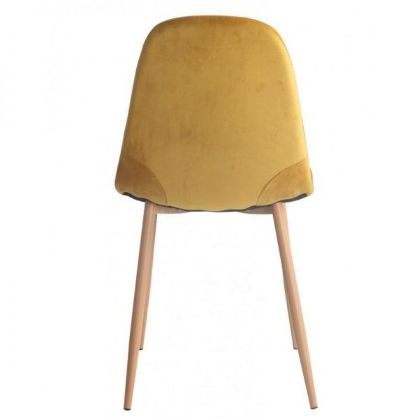 silla salon tapizada terciopelo ocre